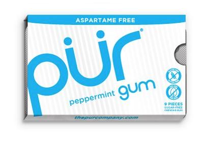 PÜR přírodní žvýkačky bez Aspartamu, Máta Peprná, 9ks