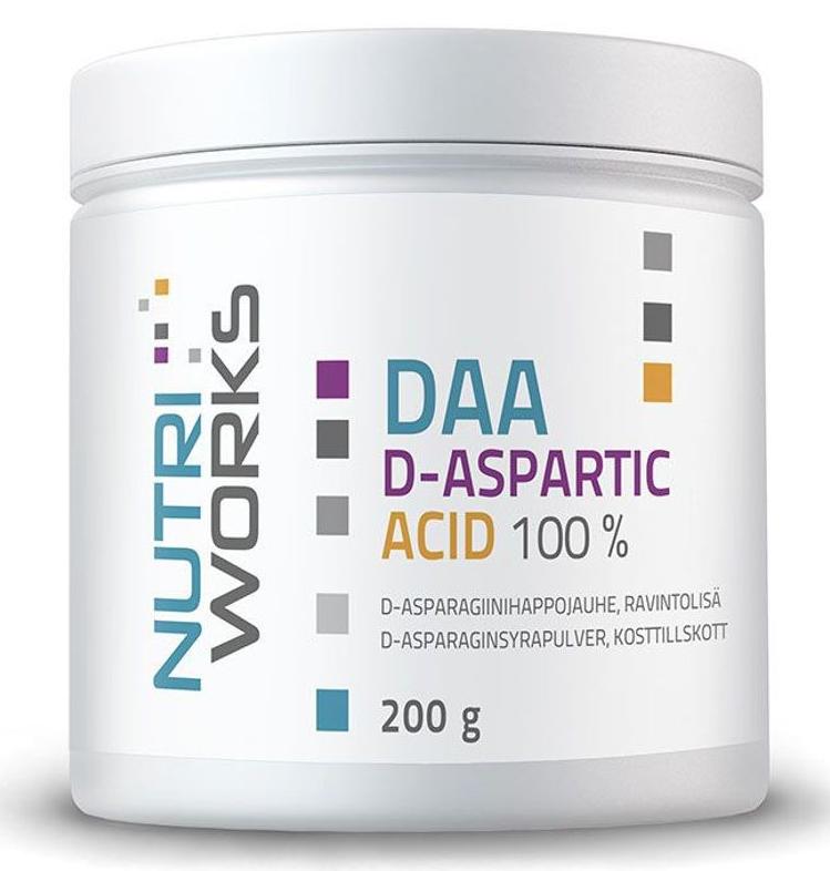 NutriWorks DAA D-Aspartic Acid, kyselina d-Asparagová, 200g