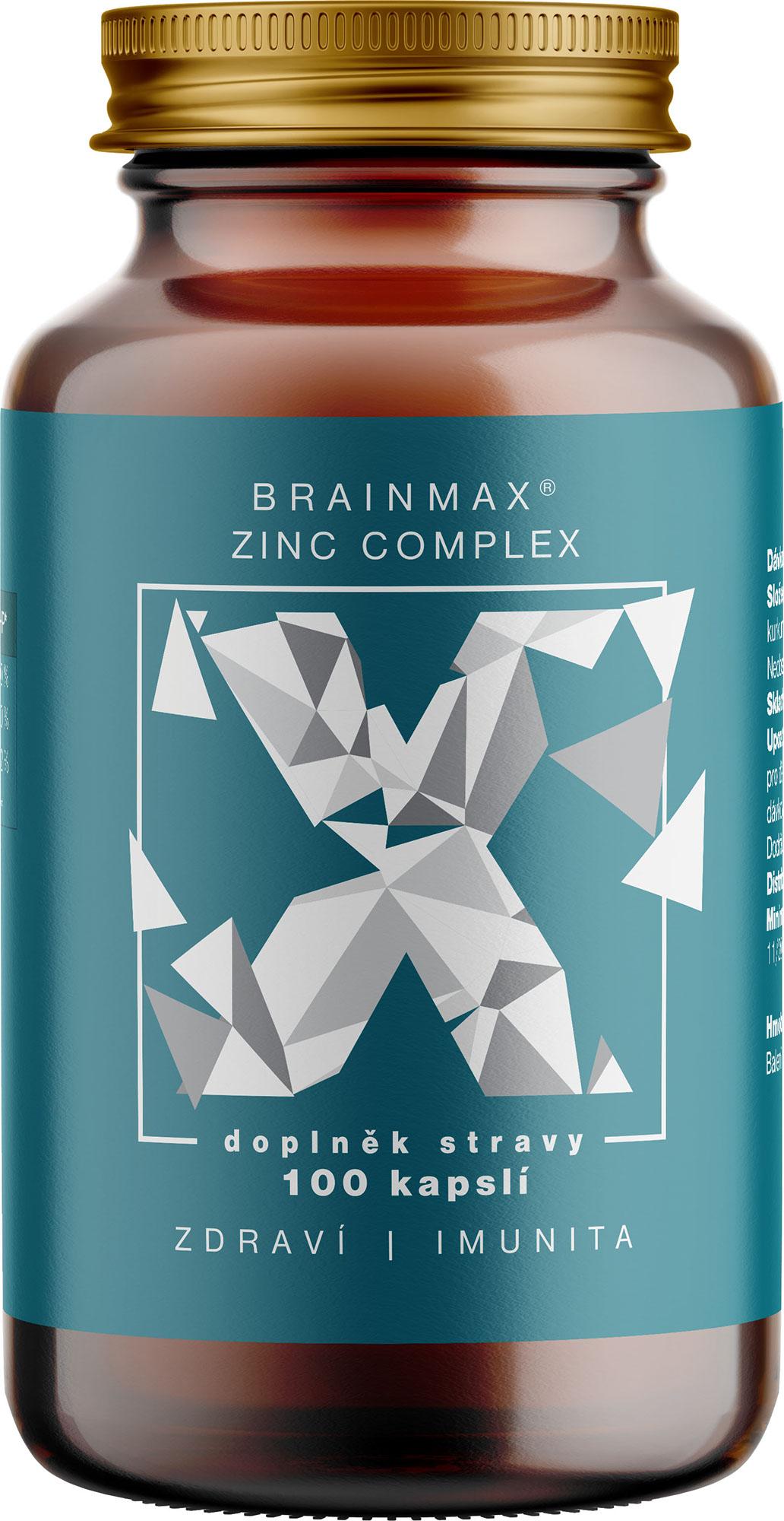 BrainMax Zinc Complex, Zinek, Selen, Měď a Kurkuma, 100 rostlinných kapslí