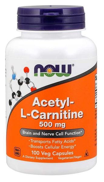 NOW Acetyl-L-Carnitine 500mg, 200 kapslí