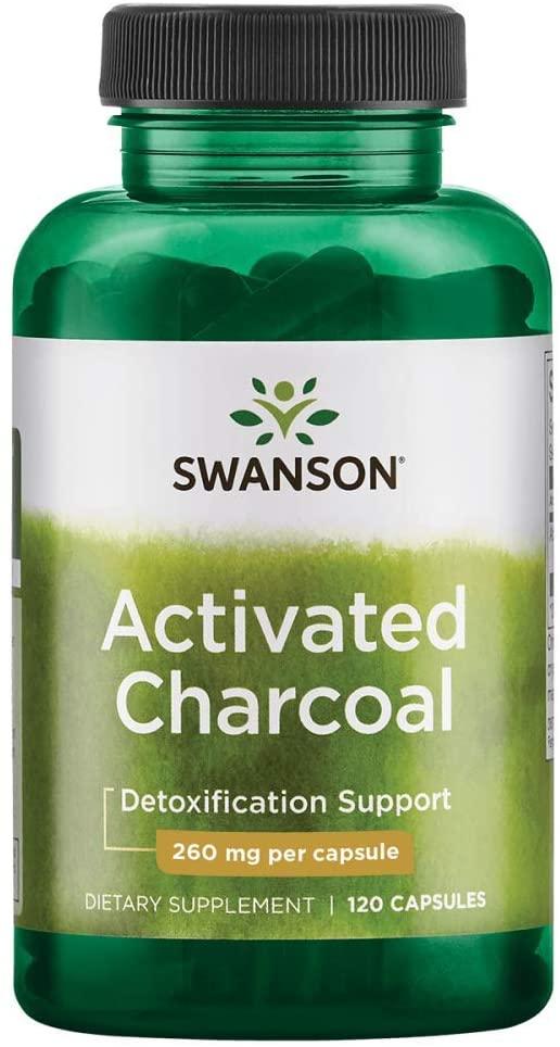 Swanson Activated Charcoal (Aktivní uhlí), 520 mg, 120 kapslí