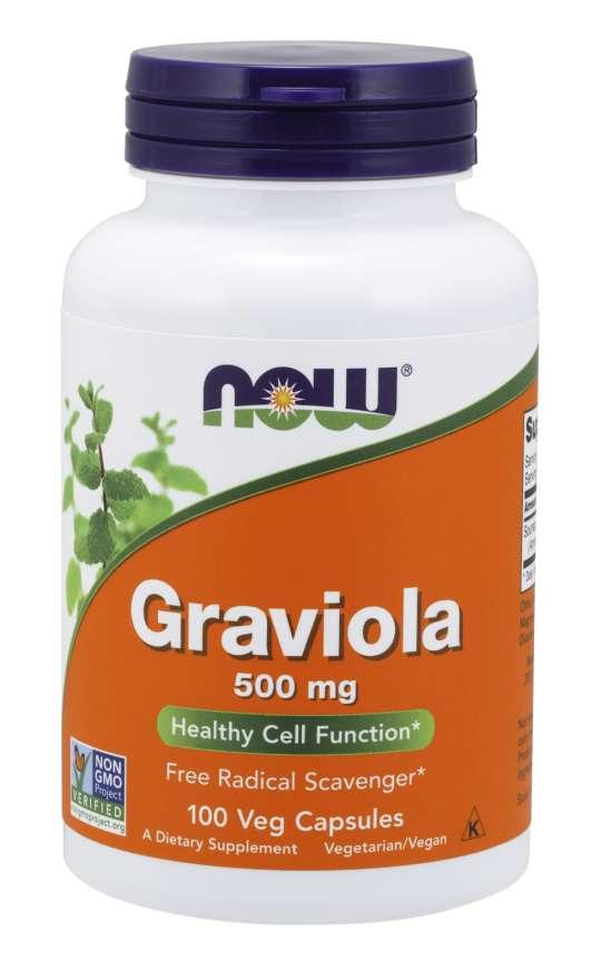 NOW® Foods NOW Graviola (Láhevník ostnitý), 500 mg, 100 rostlinných kapslí