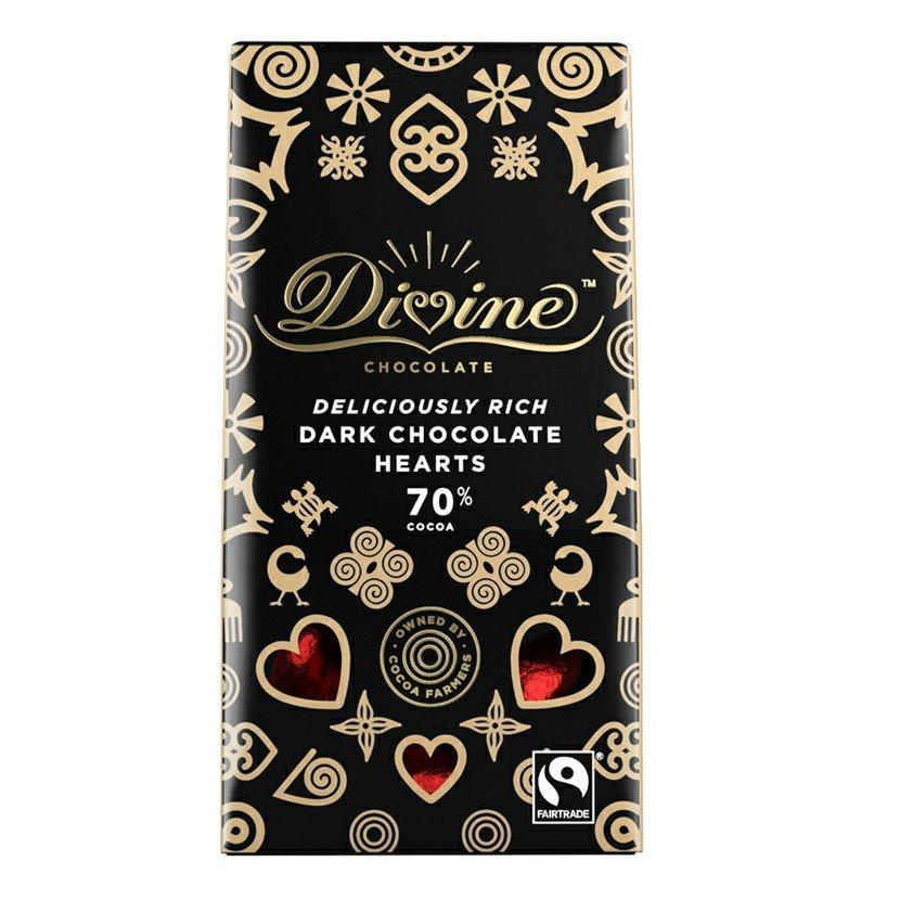 Levně Divine Chocolate Hořká čokoládová srdíčka 70%, 80g Expirace 10/2021