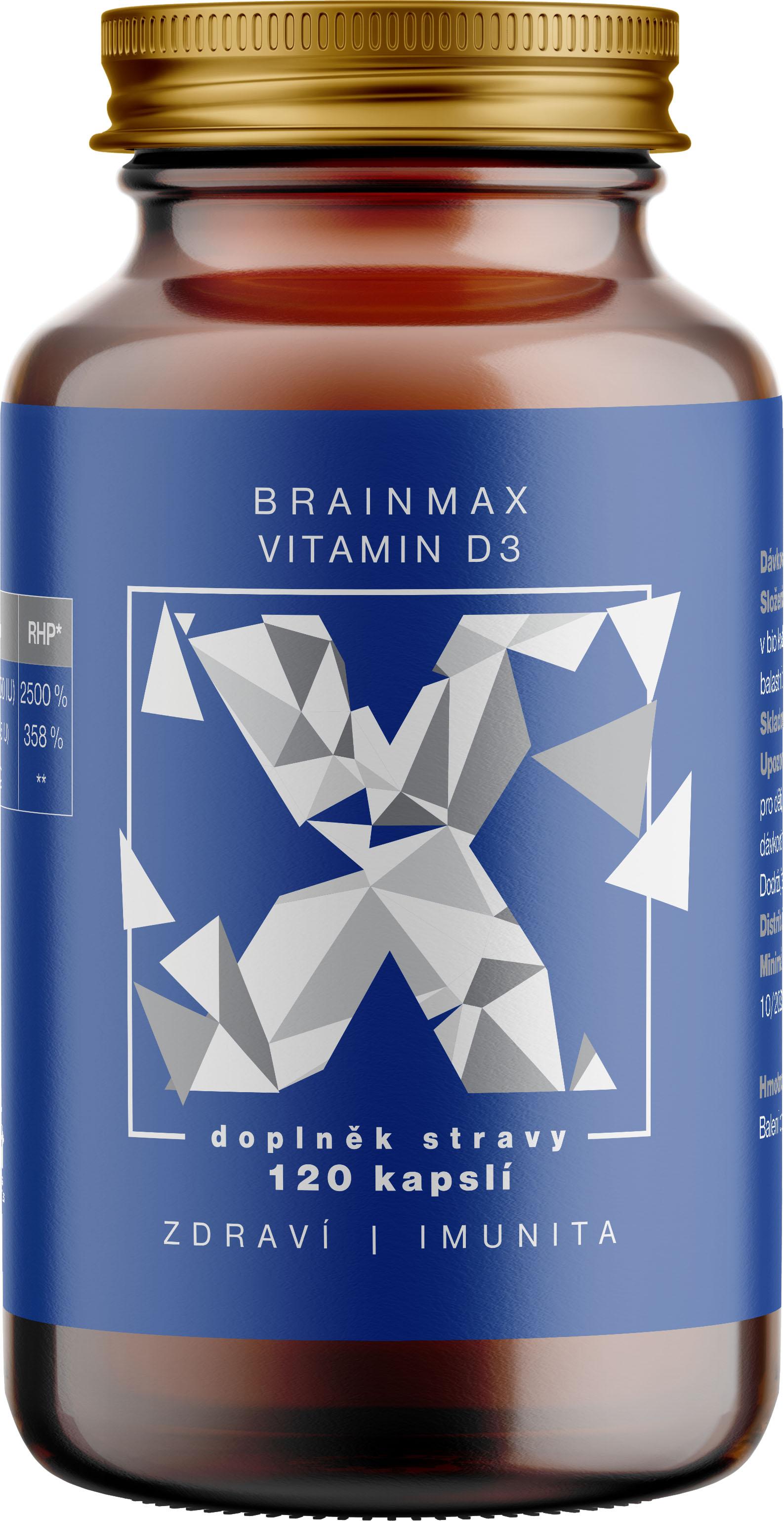 BrainMax Vitamin D3, 5000 IU, 120 rostlinných kapslí