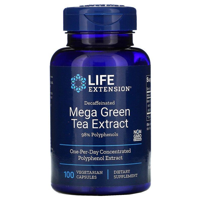 Life Extension Decaffeinated Mega Green Tea Extract, bezkofeinový extrakt ze zeleného čaje, 100 rostlinných kapslí