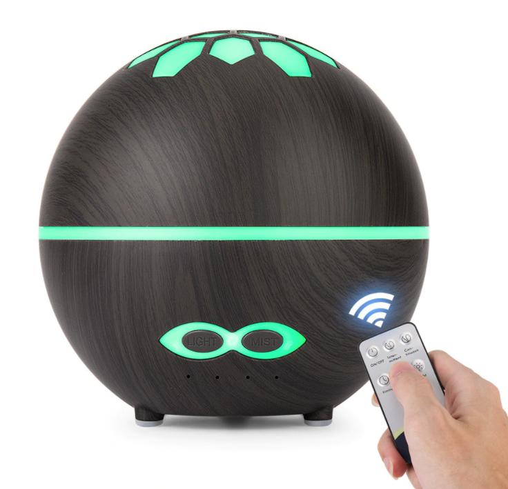 BrainMax Aroma Difuzér DARK WOOD s osvětlením a dálkovým ovládáním