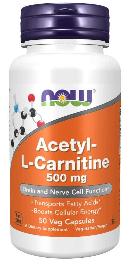 NOW Acetyl-L-Carnitine 500mg, 50 rostlinných kapslí