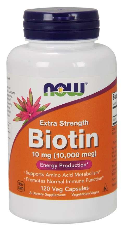 NOW Biotin, 10 mg Extra Strength, 120 rostlinných kapslí
