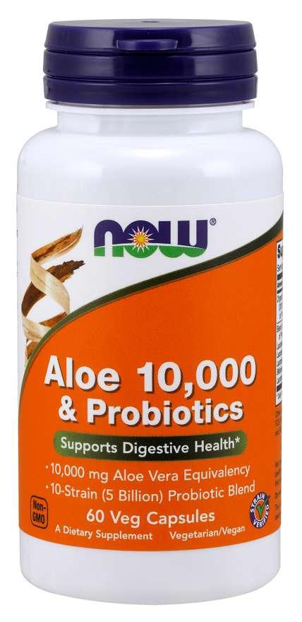 NOW Aloe 10000 & Probiotics (aloe vera s probiotiky), 60 rostlinných kapslí