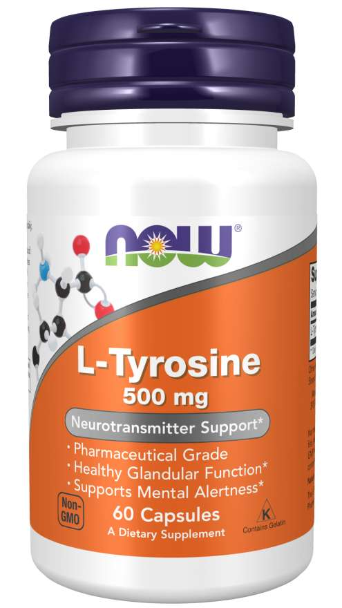 NOW L-Tyrosine, 500 mg, 60 kapslí
