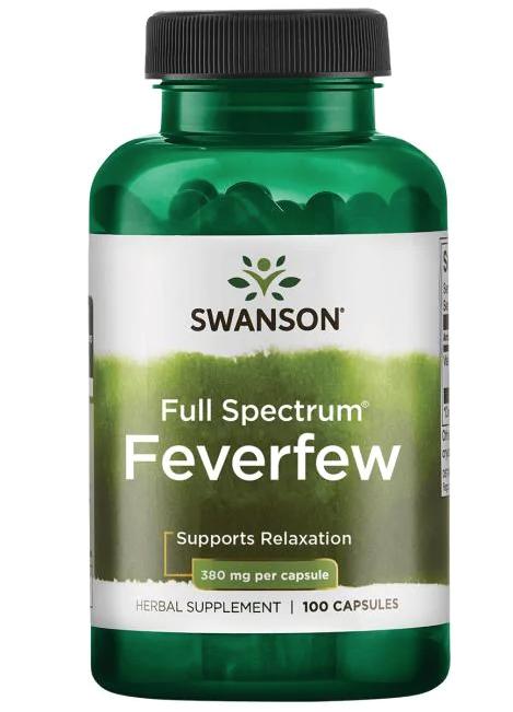 Swanson Feverfew (Řimbaba obecná), 380 mg, 100 kapslí