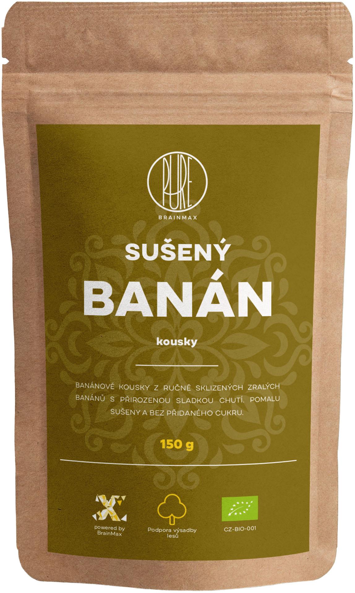 BrainMax Pure Sušený banán - kousky BIO, 150 g *CZ-BIO-001 certifikát