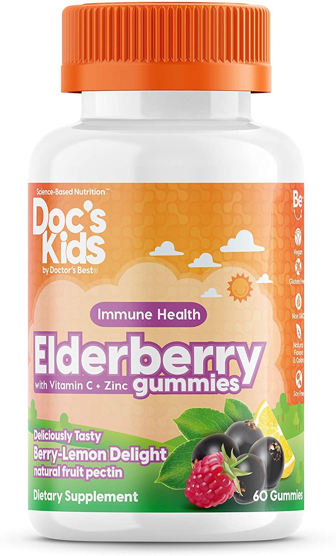Doctor's Best Doctor's Best Children's Elderberry gummimes, Bezinka s vitamínem C a zinkem (podpora imunity pro děti), 60 gumových medvídků