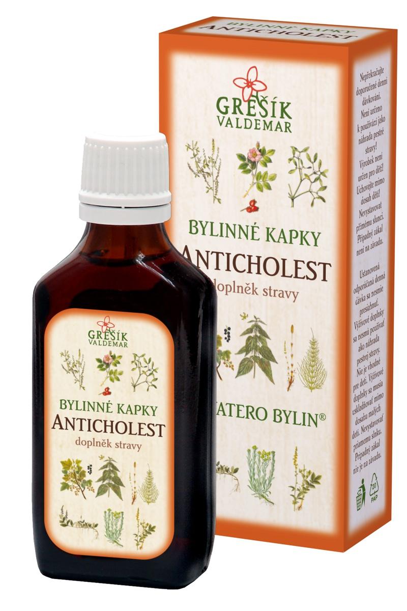 Grešík bylinky na cholesterol kapky Anticholest 40% líh 50 ml