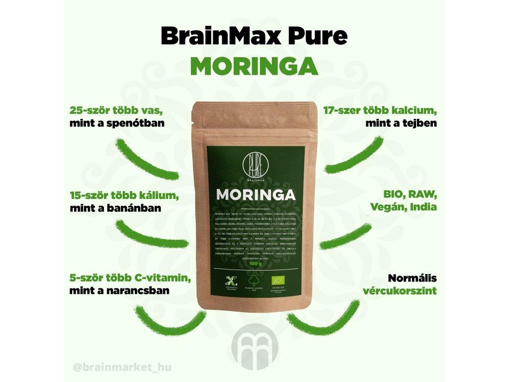 BrainMax Pure Moringa BIO por, 100 g - BrainMarket.cz
