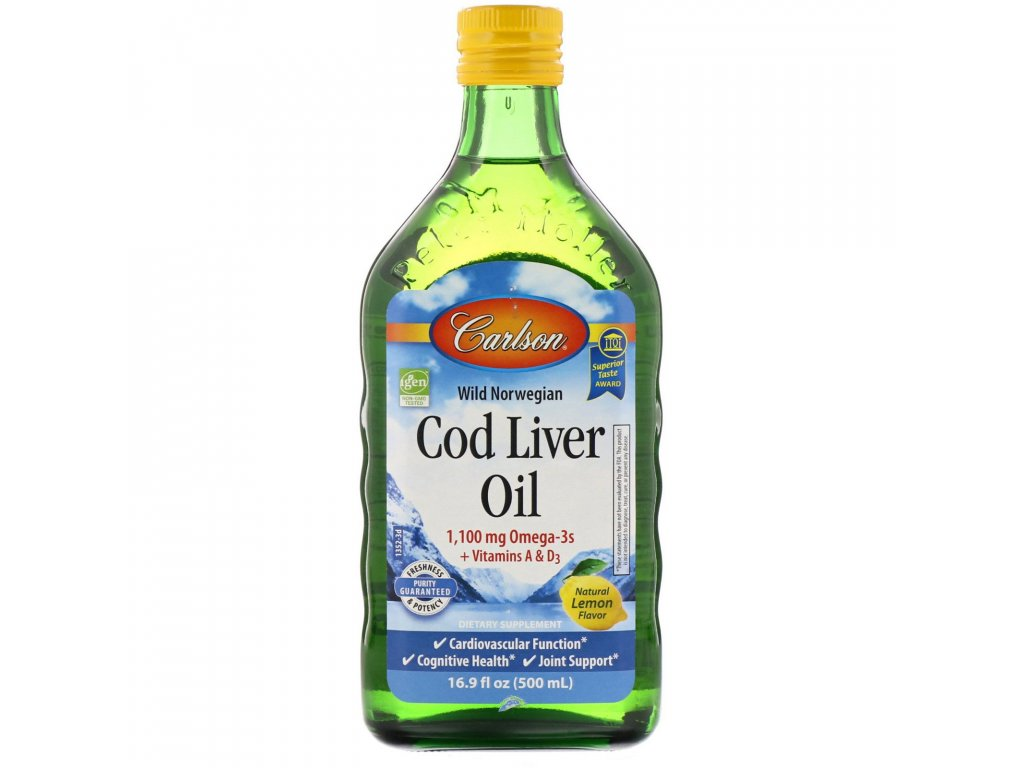 17591 carlson labs cod liver oil olej z trescich jater citron 500 ml