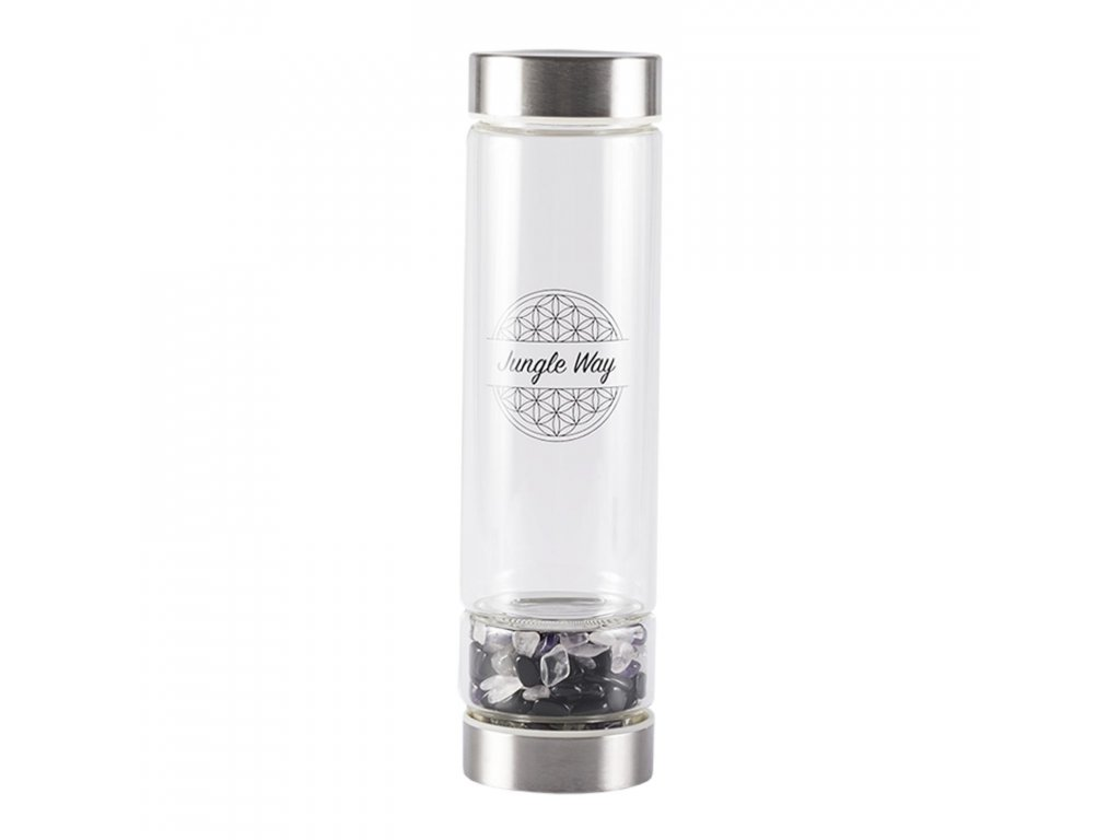 produkt jungle way sklenena lahev s polodrahokamy 048 l 2