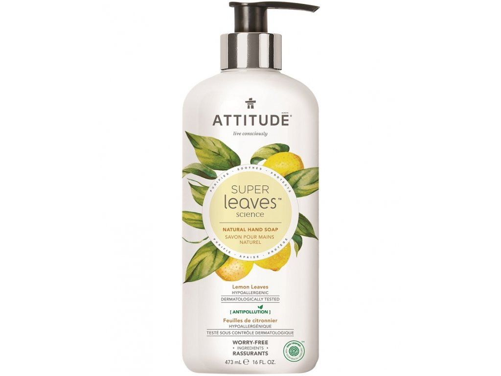 10559 attitude prirodni mydlo na ruce super leaves s detoxikacnim ucinkem citrusove listy 473ml