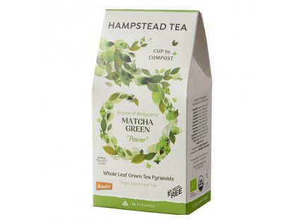 Hampstead Tea London BIO Demeter sypany zeleny caj s Matchou v kompostovatelnych pyramidach 15ks