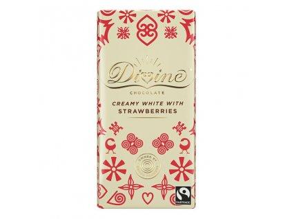 Divine bila cokolada s jahodami a vanilkou 25% 90g