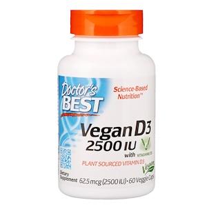 Doctor's Best Doctor's Best Vegan Vitamin D3, 2500 IU, 60 rastlinných kapsúl