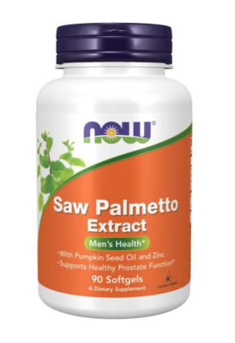 NOW® Foods NOW Saw Palmetto, Serenoa plazivá extrakt + dýňový olej a zinek, 80 mg, 90 softgel kapslí
