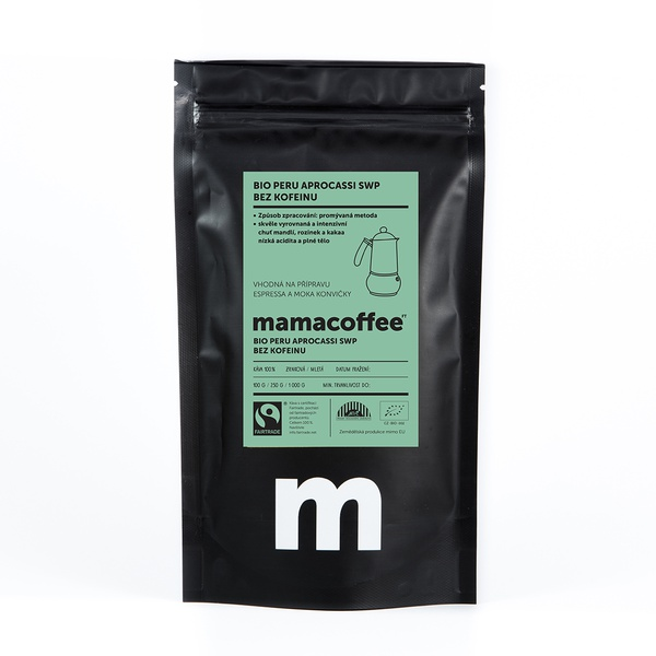 Mamacoffee - Bio Peru Peru Aprocassi SWP bez kofeinu, 100g Druh mletie: Mletá