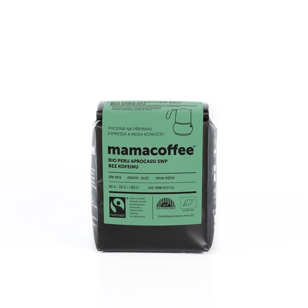 Mamacoffee - Bio Peru Peru Aprocassi SWP bez kofeinu, 250g Druh mletie: Mletá