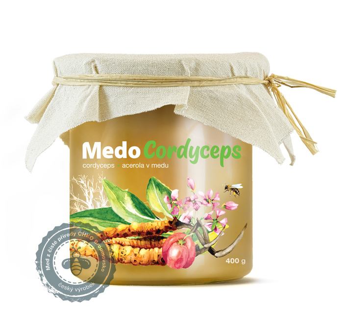MycoMedica - MedoCordyceps, cordyceps a acerola v medu, 400g