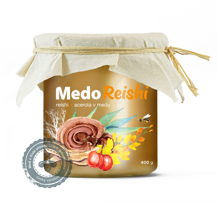 MycoMedica - MedoReishi, Reishi a acerola v medu, 400g
