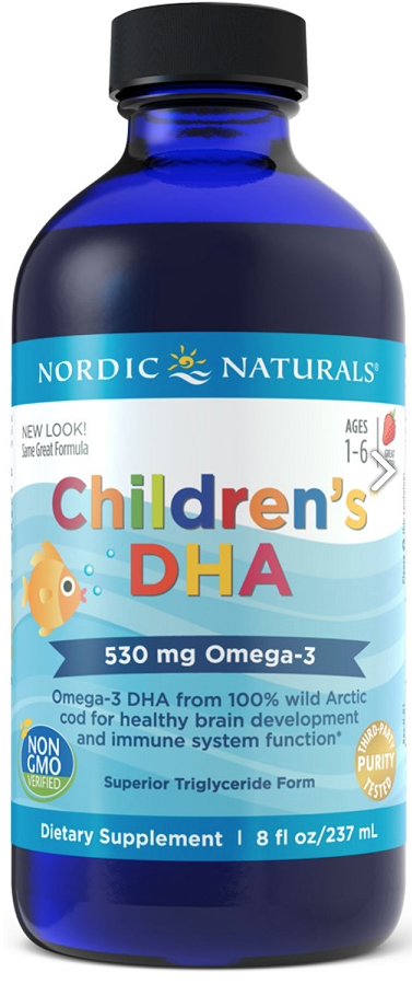 Nordic Naturals Children's DHA, Omega 3 pro děti - jahoda, 530mg, 237 ml