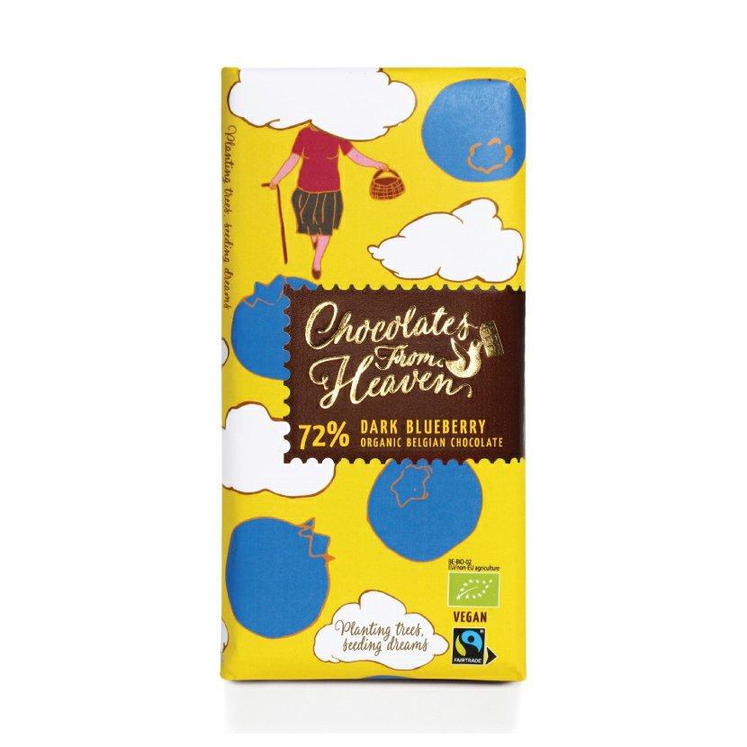 Chocolates from Heaven - BIO horká čokoláda s čučoriedkami 72 %, 100 g