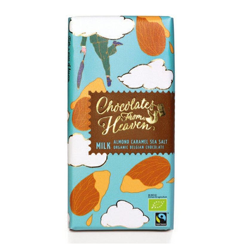 Chocolates from Heaven - BIO mliečna čokoláda s karamel. mandľami a morskou soľou 37 %, 100 g