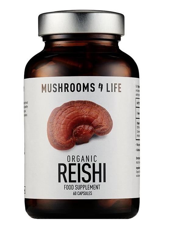 Mushrooms 4 Life Reishi - Certifikovaná BIO houba, 60 kapslí