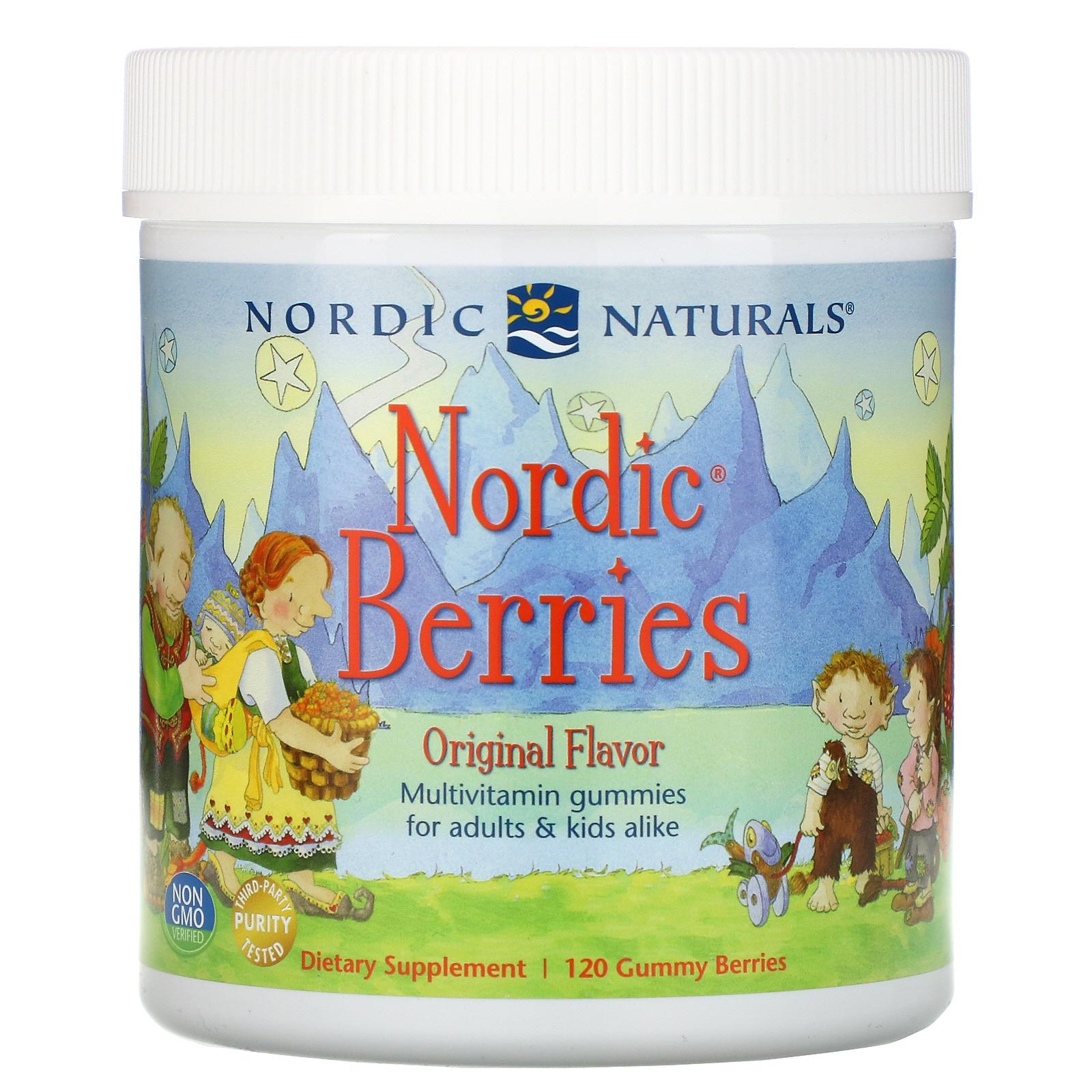 Nordic Naturals Nordic Berries Multivitamin, sladkokysele - 120 gumových bombonu