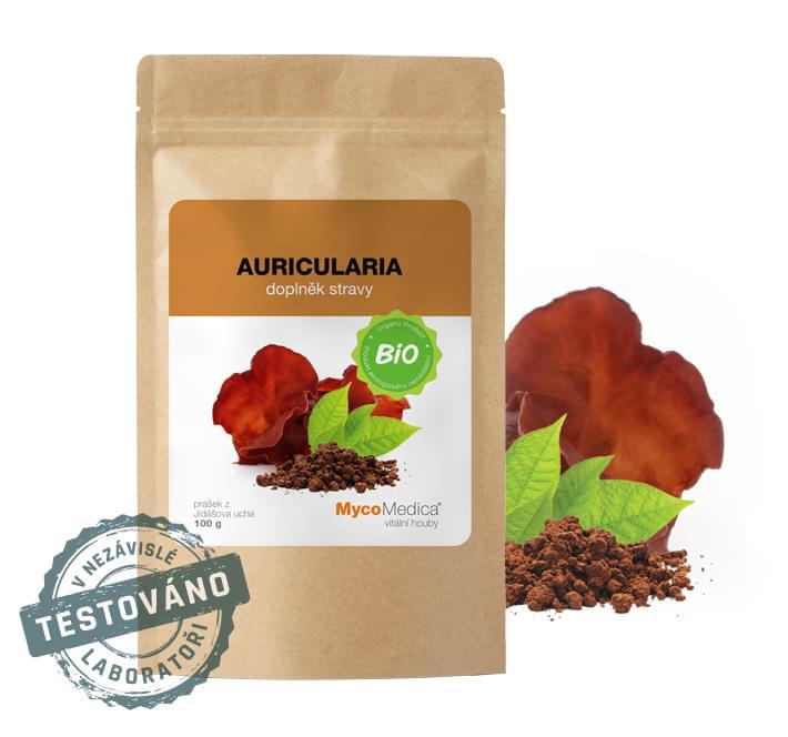 MycoMedica - BIO Auricularia prášek, 100 g *CZ-BIO-003 Certifikát