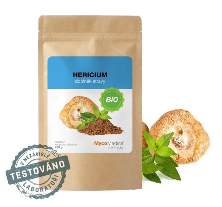 MycoMedica - BIO Hericium (Lion's Mane) prášek, 100 g *CZ-BIO-003 Certifikát