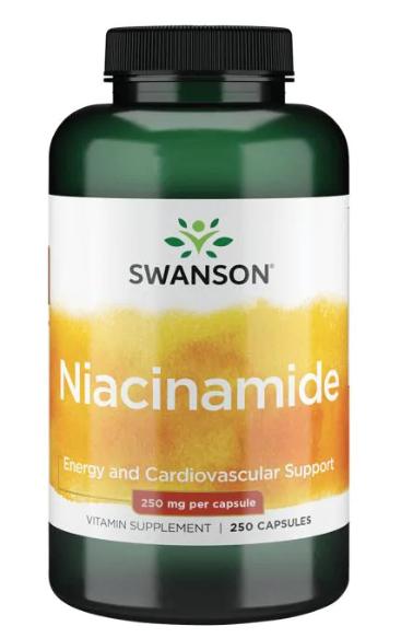 Swanson Niacinamide - Vitamín B3, 250 mg, 250 kapslí