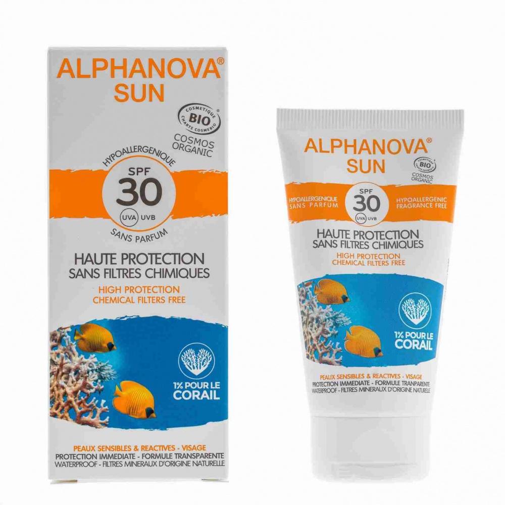 ALPHANOVA bio opaľovací krém na tvár SPF 30, 50 g