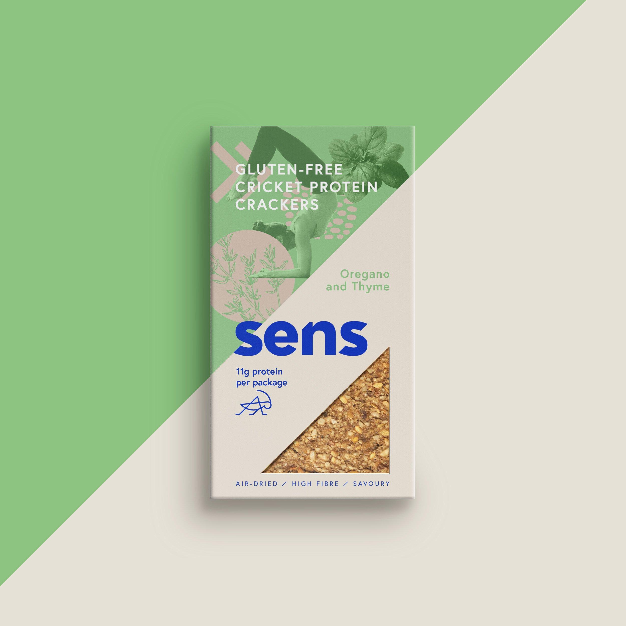 Sens - Bezlepkové proteinové krekry - Oregáno & Tymián, 50 g