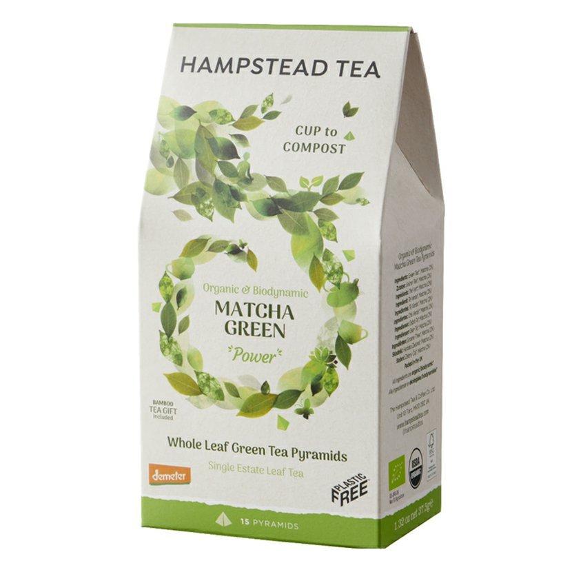 Hampstead Tea London BIO Demeter sypaný zelený čaj s matchou, v kompostovateľných pyramídach, 15 ks