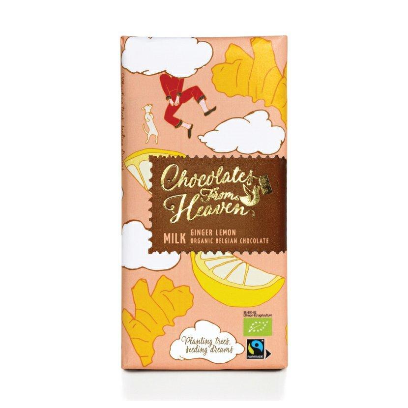 Chocolates from Heaven - BIO mliečna čokoláda so zázvorom a citrónom 37 %, 100 g *CZ-BIO-002 Certifikát