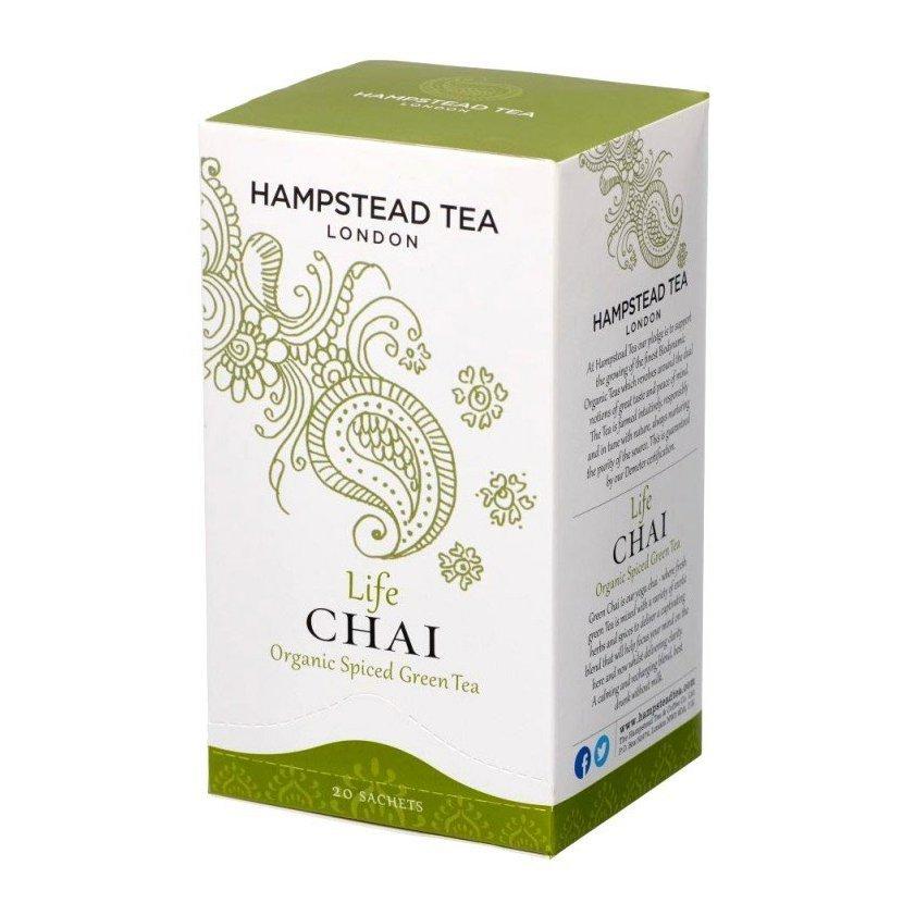 Hampstead Tea London BIO Green Chai detoxikačný čaj s orientálnym korením, 20 ks *GB-ORG-06 Certifikát