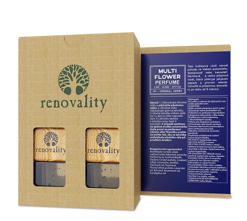 Renovality - Multi Flower Car Perfume, vůně do interiéru, 2x7 ml