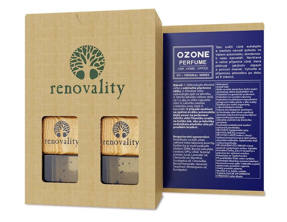 Renovality - Ozone Car Perfume, vůně do interiéru, 2x7 ml