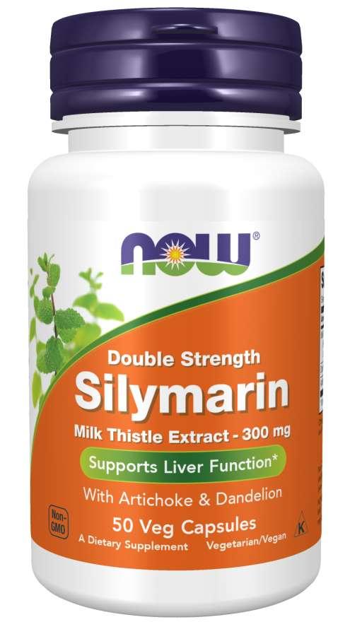 NOW® Foods NOW Double Strength Silymarin milk thistle extract (extrakt z ostropestřce s artyčokem a pampeliškou), 300 mg, 50 rostlinných kapsúl