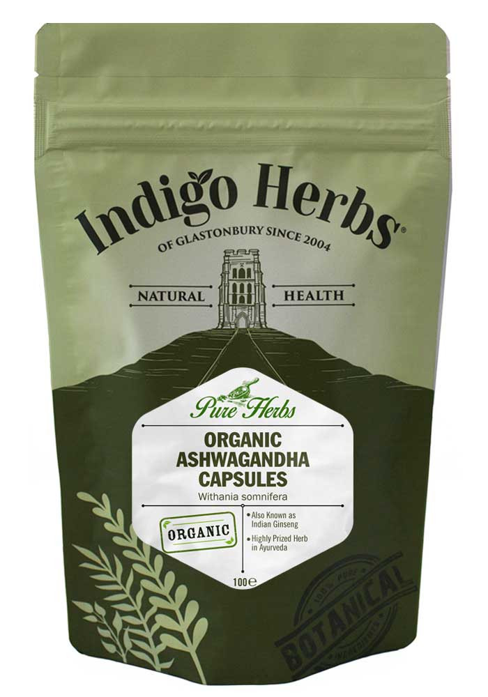 Indigo Herbs Organic Ashwagandha capsules (kapsle), 100 kapslí