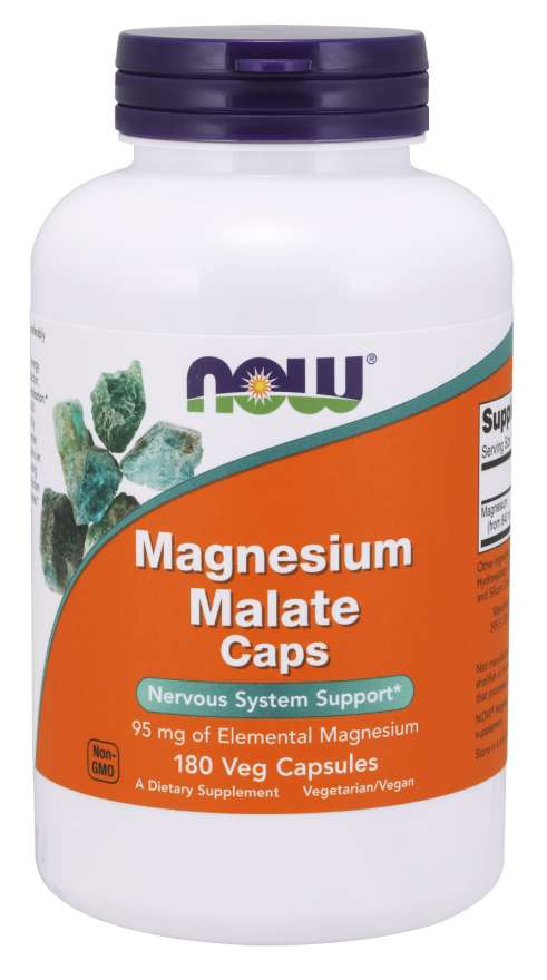 NOW® Foods NOW Magnesium Malate Caps 95 mg, 180 rostlinných kapslí