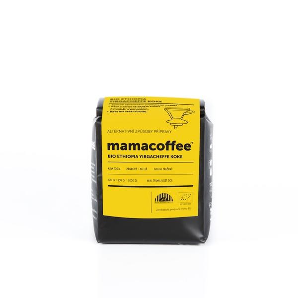Mamacoffee - BIO Ethiopia Yirgacheffe Koke, 100g Druh mletie: Mletá