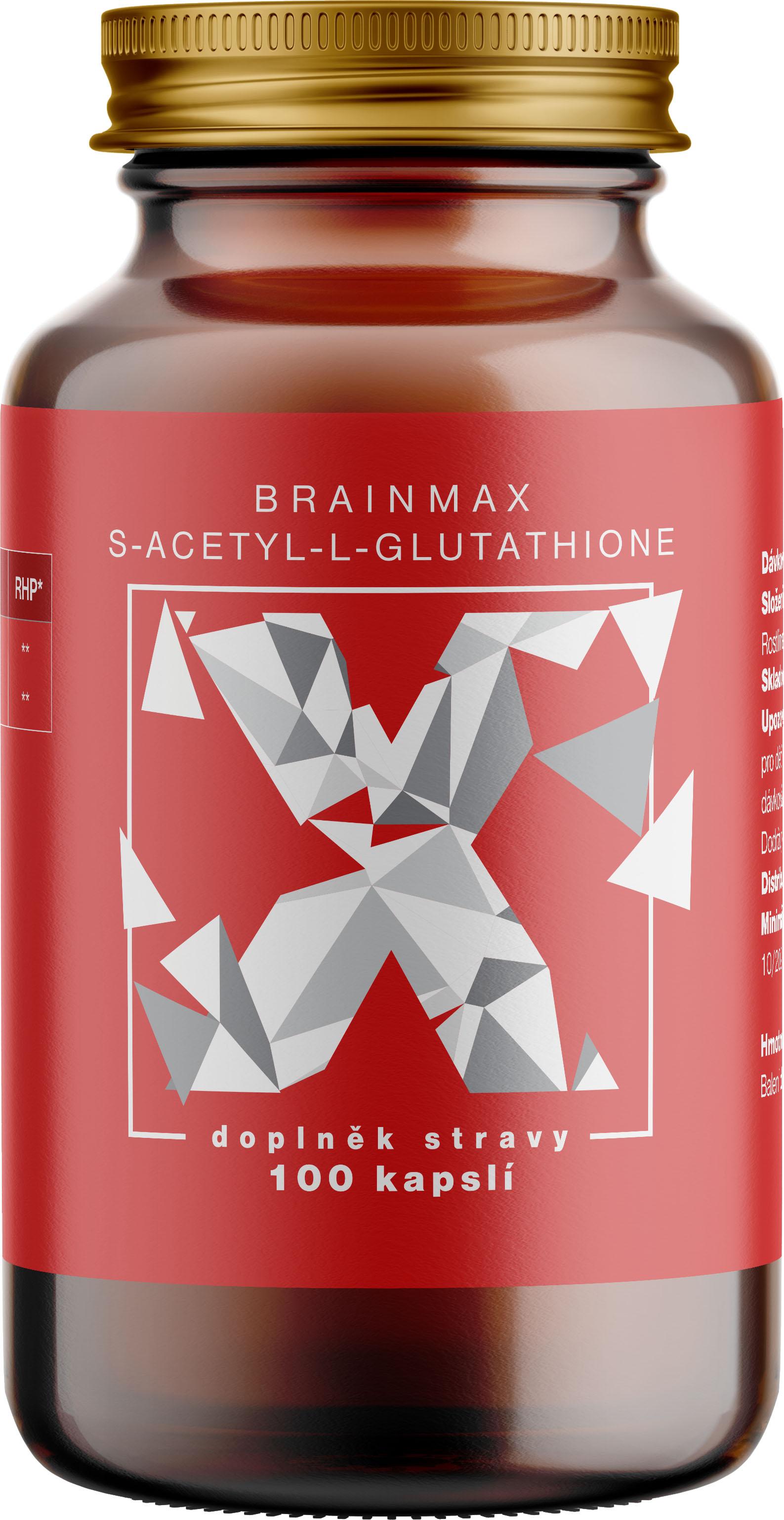 BrainMax S-Acetyl-L-Glutathione, 100 mg, 100 rostlinných kapslí
